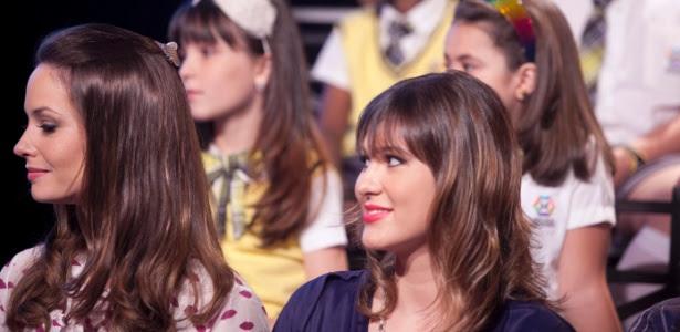 """Rosanne Mulholland, a professora Helena, e Lívia Andrade, a professora Suzana em coletiva de """"Carrossel"""" (7/5/12)"""