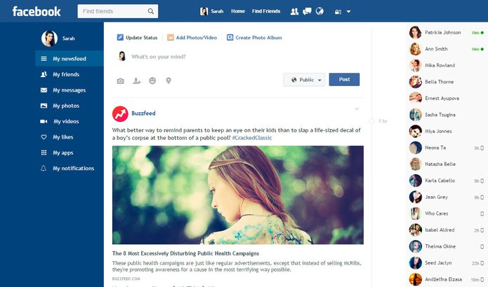 Facebook Flat tem ferramentas extras para usuários da rede social (Foto: Divulgação/Facebook Flat)