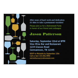 Wine Glasses Retirement Party Invitation