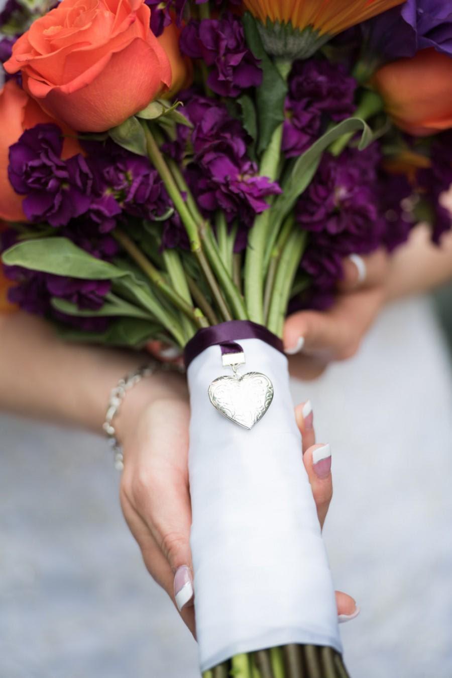 Wedding Bouquet Heart Locket Memory Photo Frame Bridal Charm Bride
