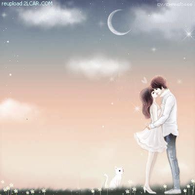 animasi kartun korea romantis ciuman bawah bulangif