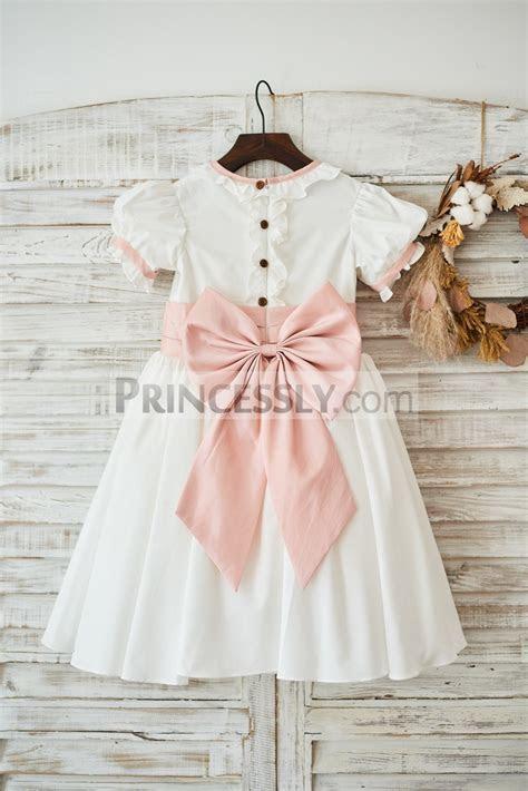 Vintage Ivory Cotton Short Sleeves Wedding Flower Girl