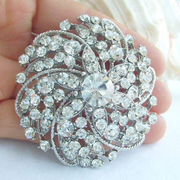 Wedding Jewelry Rhinestone Crystal Flower Bridal Brooch, Wedding Deco, Sash Brooch, Wedding Bouquet, Trendy Bridal Party Jewelry - BP03813C1