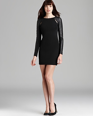 Cut25 by Yigal Azrouel Leather Combo Sleeve Slit Dress