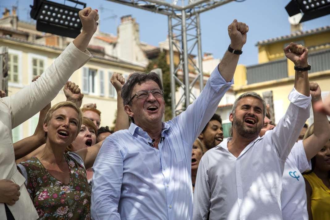 Jean-Luc Mélenchon lors de la clôture des «AmFIs» d'été de la France insoumise, à Marseille, le 27 août.