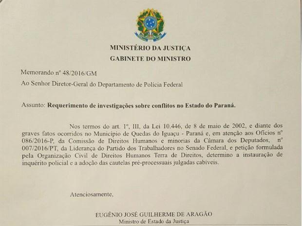 Ministro da Justiça determina que PF investigue mortes de integrantes do MST (Foto: Reprodução)