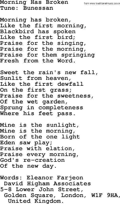 Morning Has Broken Hymn Lyrics Wedding
