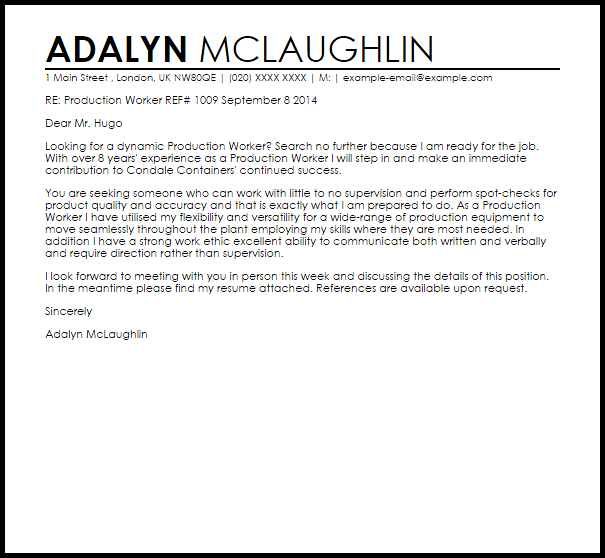 Production Worker Cover Letter Sample Cover Letter