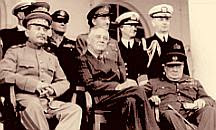 Stalin, Roosevelt, and Churchill at the Teheran Cobnference in 1943