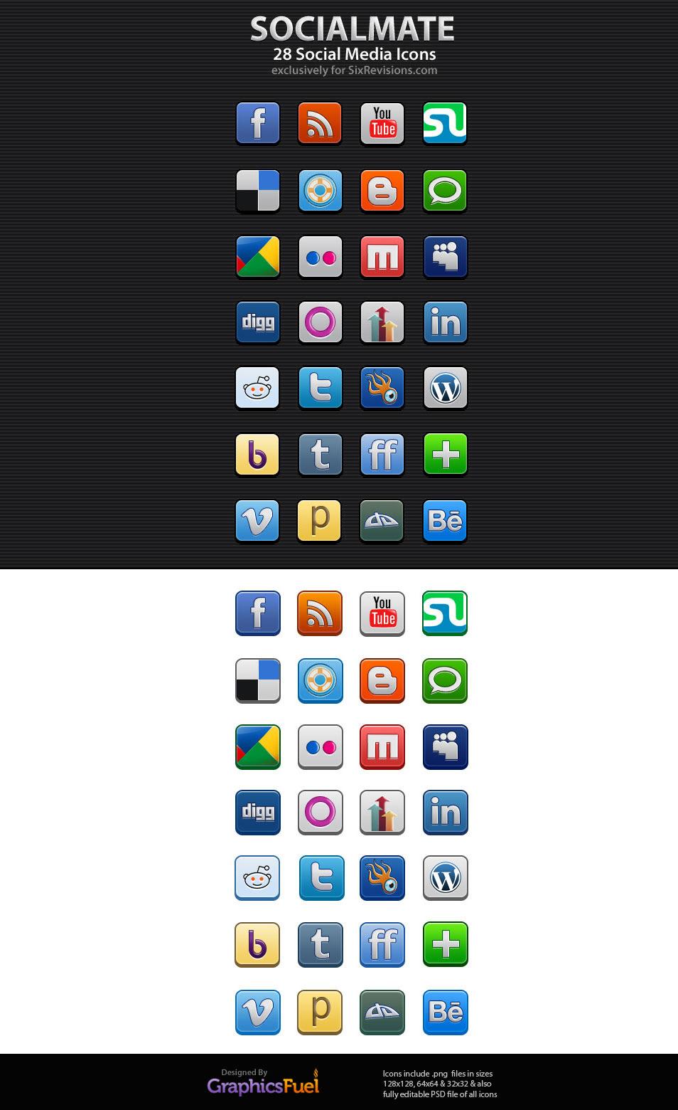 SocialMate: 28 Free Social Media Icons