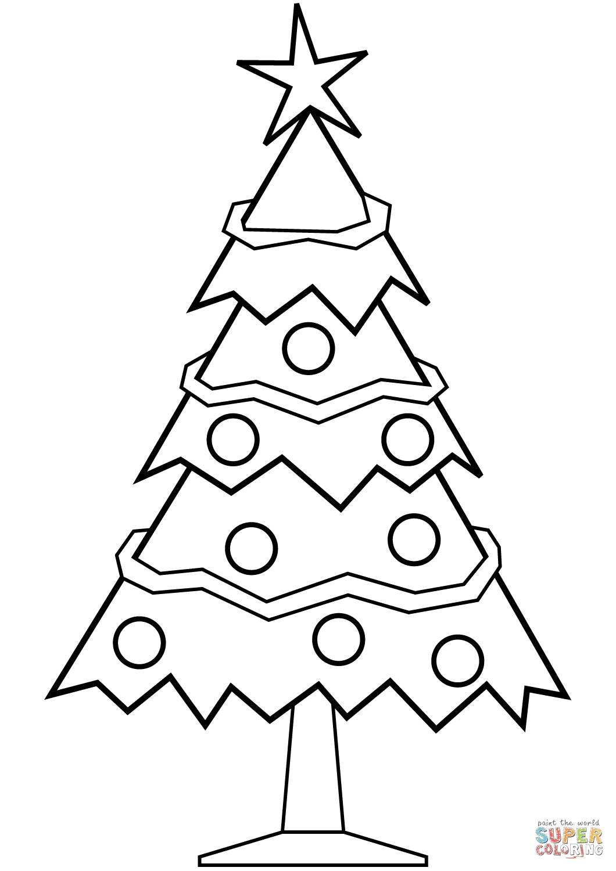 Simple Christmas Tree coloring page | Free Printable ...