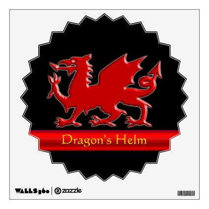 Embossed-look Dragon with red chrome-effect stripe Room Decal