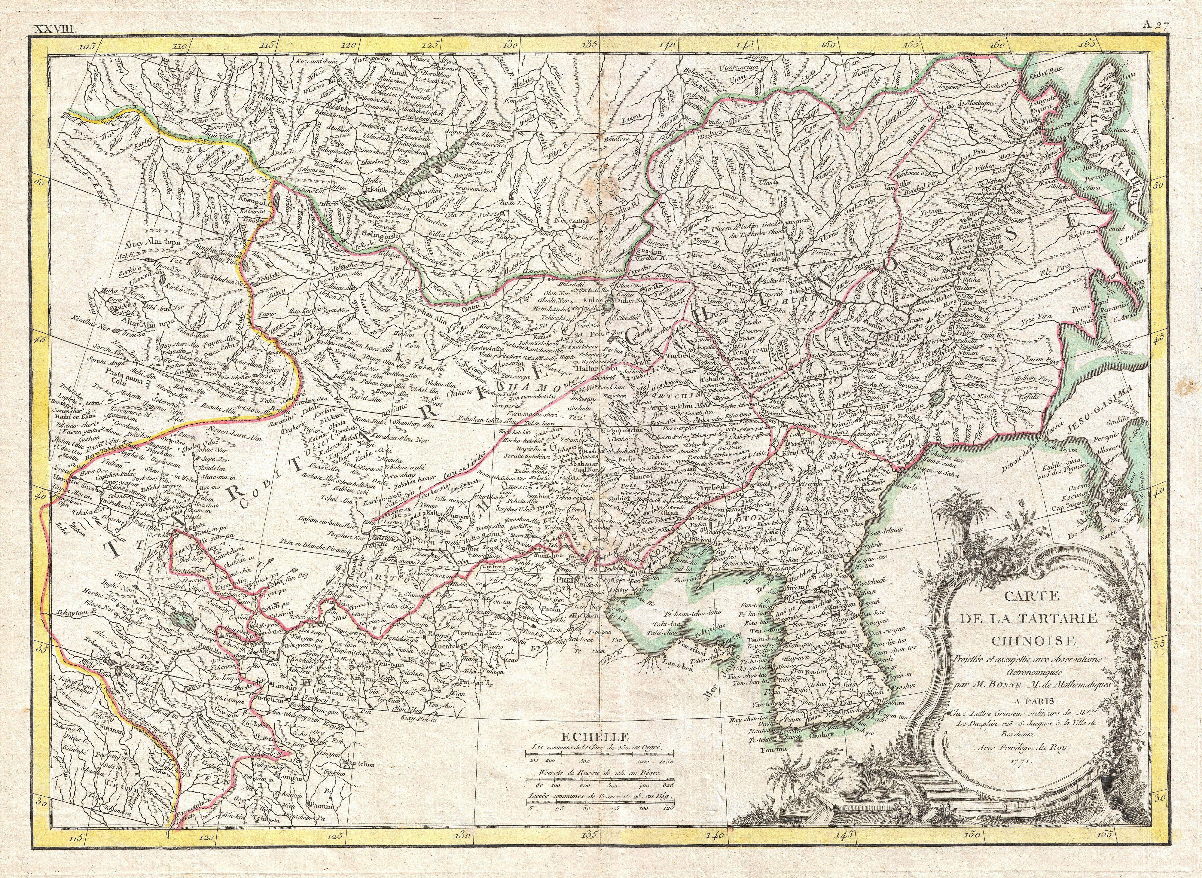 File1770 Bonne Map Of Chinese Tartary Mongolia
