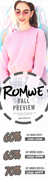 Fall Preview!  Save upto 70% off your purchase of US$169 +  Use Code NAD70 at Romwe.com.  Sale ends 8/21