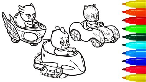 pj masks car racing coloring pages colouring pages