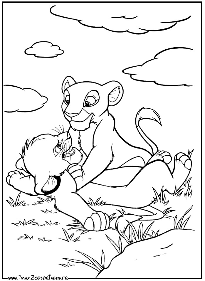 Coloriages Roi Lion De Walt Disney The Lion King Simba Et Nala