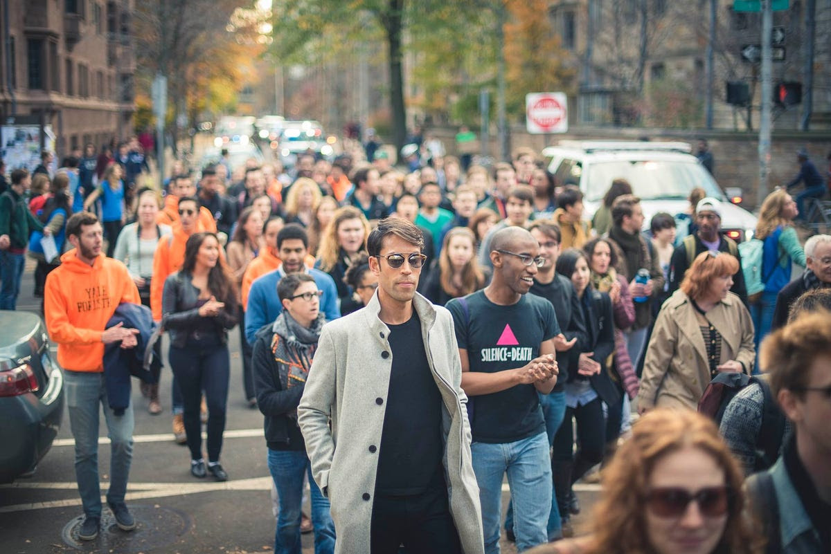 Students marched through New Haven and onto Yale's Cross Campus.