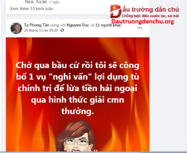 Thủ đoạn 'ăn tiền' từ hải ngoại cho nhà đấu tranh dân chủ mà Tạ Phong Tần sẽ công khai ?