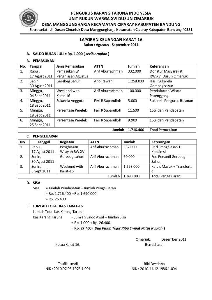 Contoh Laporan Keuangan Lomba 17 Agustus Kumpulan Contoh Laporan