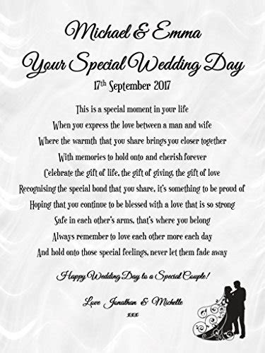 Personalised Wedding Poem Card & Heart Plaque Gift Set