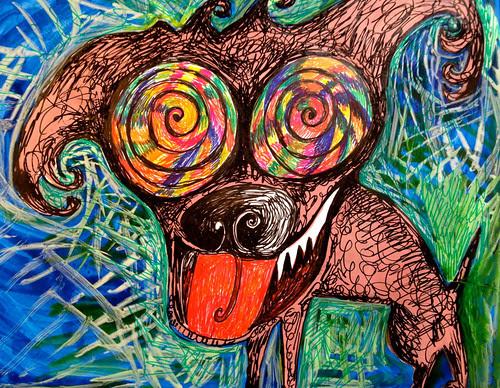 Crazy dog by Michelle Schamis