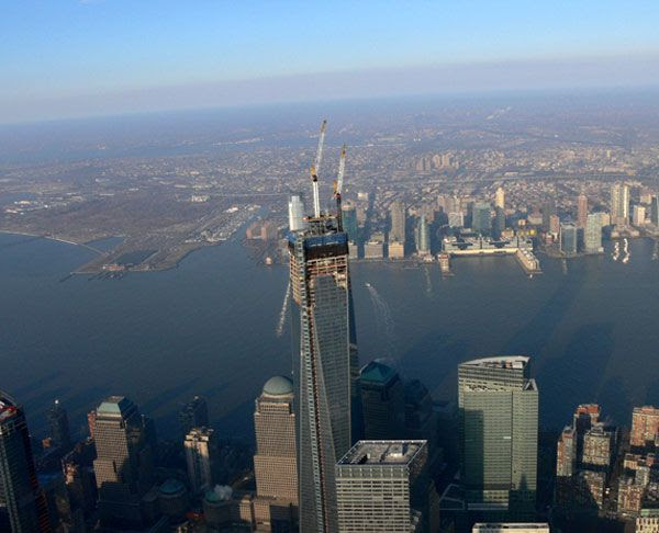 An aerial view of the antenna spire atop the 1 World Trade Center in New York City, on February 15, 2013.