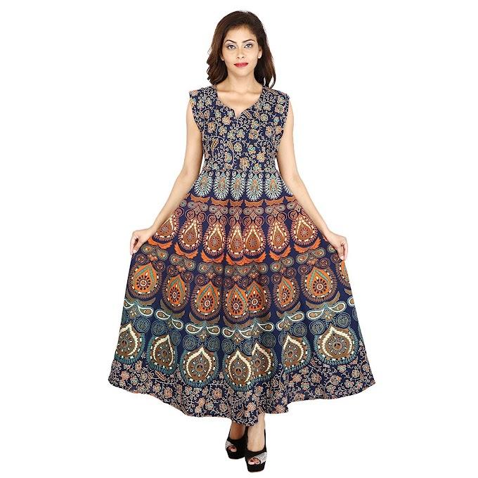 The Jaipur Bazar Women's Cotton Dress (Tjb-Ryndrs-2054_Multicolor_Free Size)