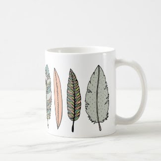 hand drawn feather mug