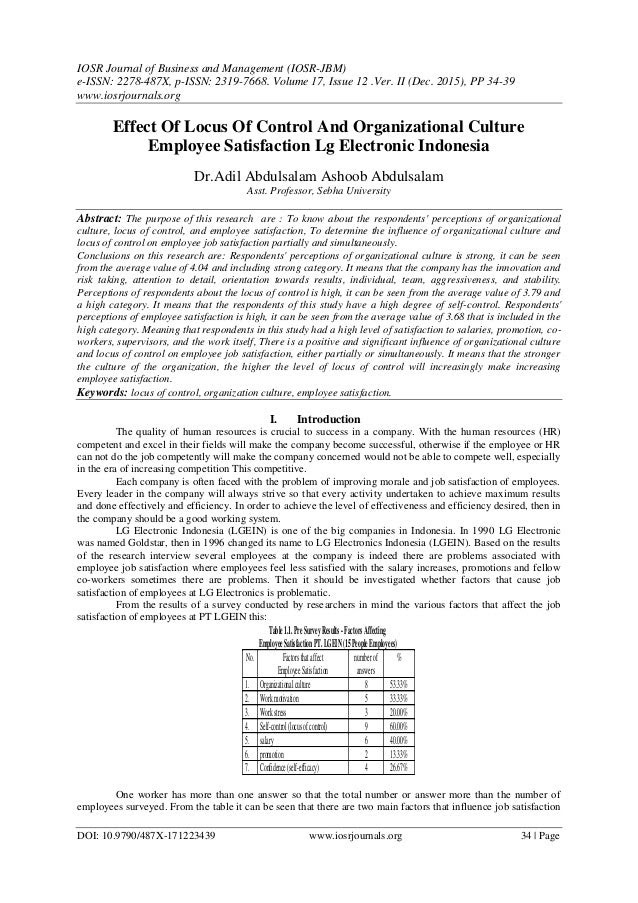 Effect Of Locus Of Control And Organizational Culture Employee Satisf…