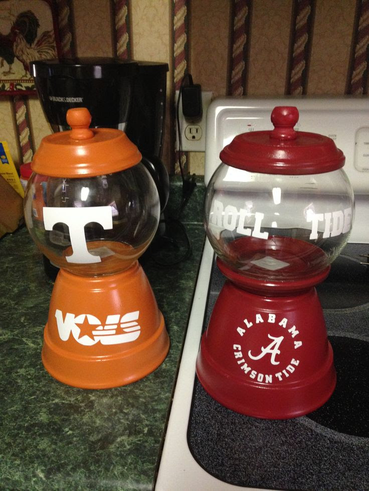 Handmade Candy Jars from Terra Cotta Pots and fish bowls.