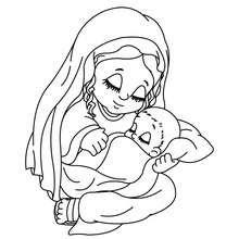 Dibujos Para Colorear La Virgen Maria Con Su Bebe El Niño Jesus Es