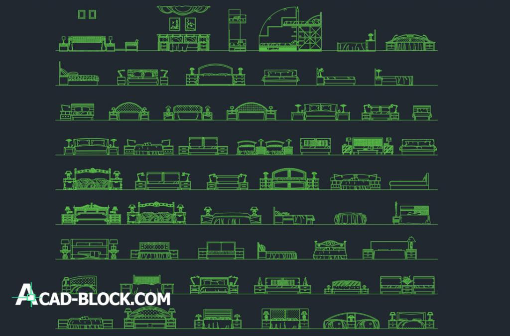 CAD Beds DWG Free CAD Blocks 2D in Autocad free Download