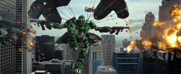 An Autobot named Crosshairs shows off his mid-air combat skills in TRANSFORMERS: AGE OF EXTINCTION.