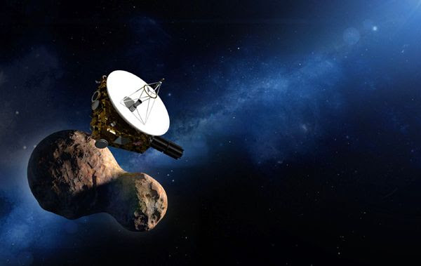 An artist's concept of the New Horizons spacecraft exploring Ultima Thule. Notice how accurate the depiction of the KBO is in this artwork (which was created well before yesterday's flyby) prior to its photographic unveiling by NASA on January 2, 2019.
