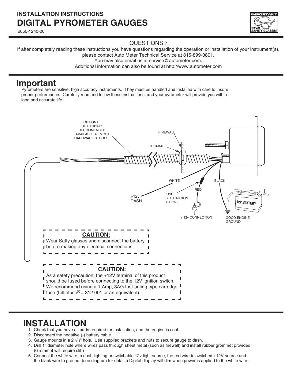 Autometer Cobalt Pyrometer Wiring Diagram