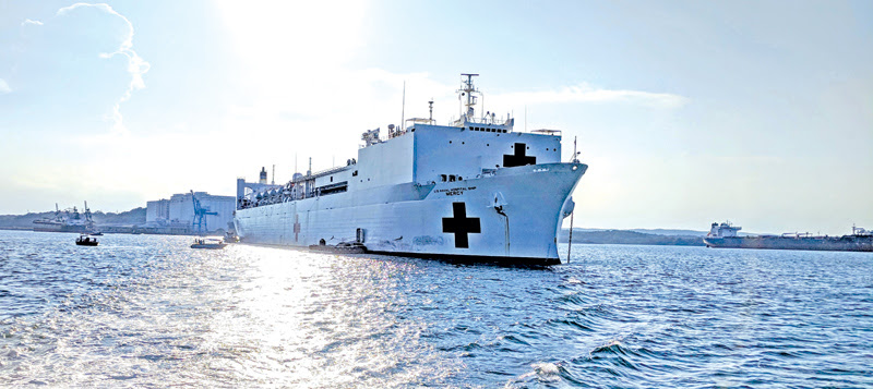 US Navy Hospital Ship Mercy in Trinco for 2018 Pacific Partnership