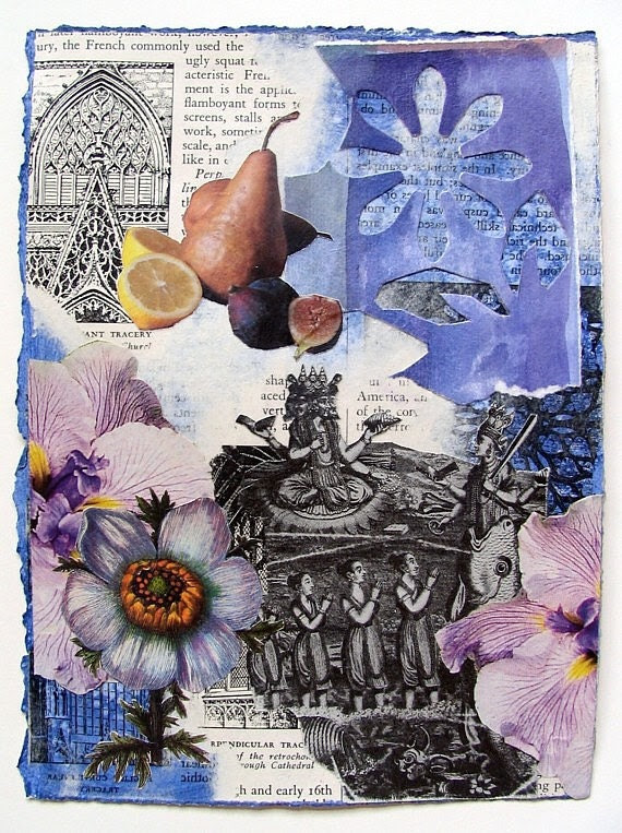 Original mixed media collage art on paper, using found imagery, acrylic paint and watercolor - BentEdgeAlchemy