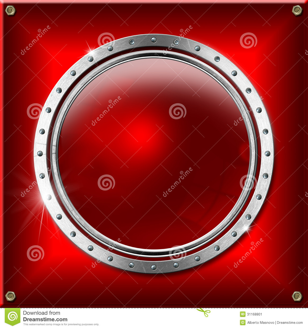 Red And Metal Background With Round Banner Stock Image ...