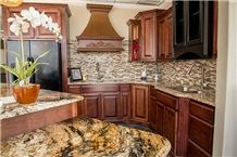 Kitchen Island with Golden Crystal Granite Paired with ...