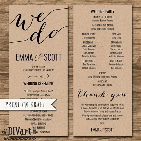 Wedding Program, Ceremony Order   PRINTABLE or PRINTED