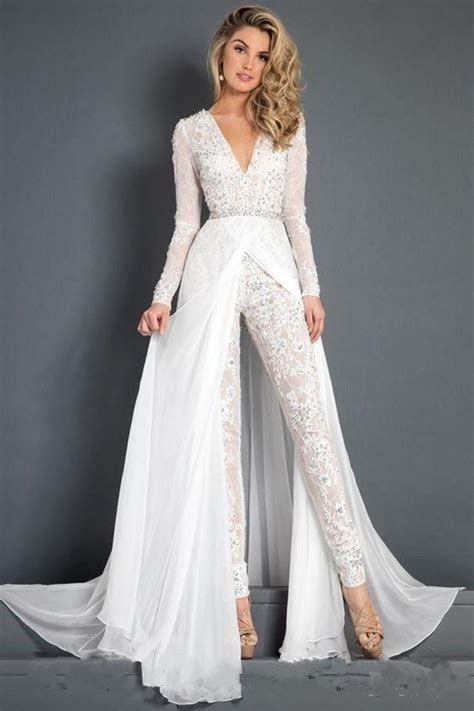 Discount 2018 New Lace Chiffon Wedding Dress Jumpsuit With