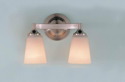 Bathroom Vanity Lights Grand  Murray Feiss VS9402 BS Two Light Paris  Moderne Collection Vanity Strip  Brushed Steel with White Opal Etch Glass  Shades. Bathroom Vanity Lights Grand  Murray Feiss VS9402 BS Two Light