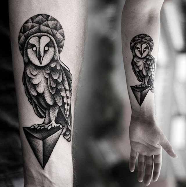 Cute Owl Tattoo In Black By Kamil Czapiga Design Of Tattoosdesign