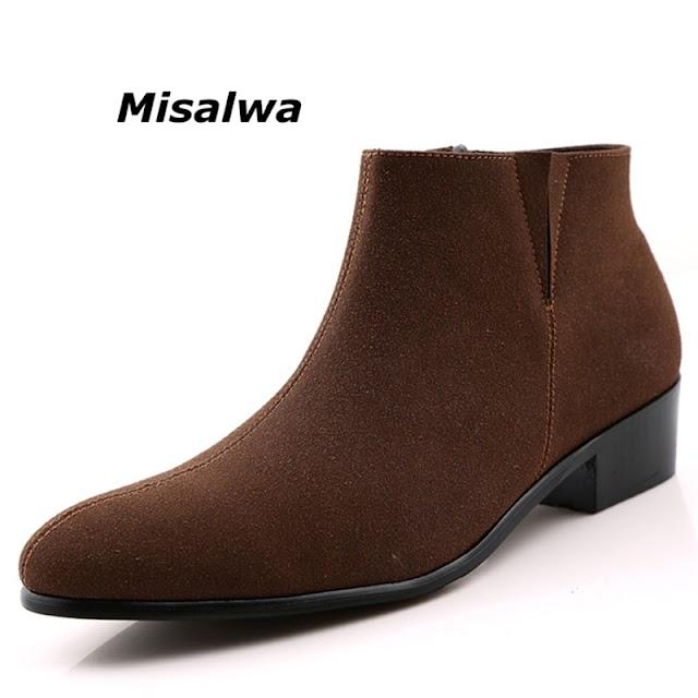 Kopen Goedkoop Misalwa Chelsea Suede Boot Men 2018 Sping Sewing Thread Zipper Ankle Comfortable Pointed Toe Botas Masculino Motorcycle Prijs