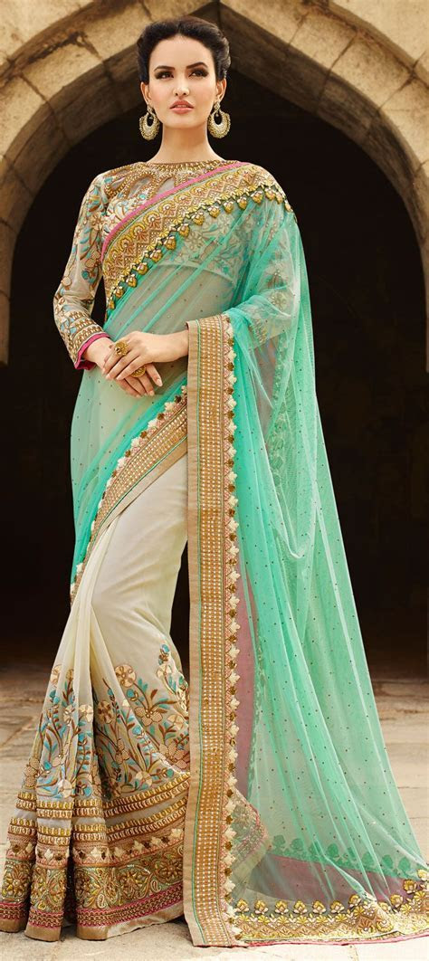 Faux Georgette Bridal Saree in Green with Resham work