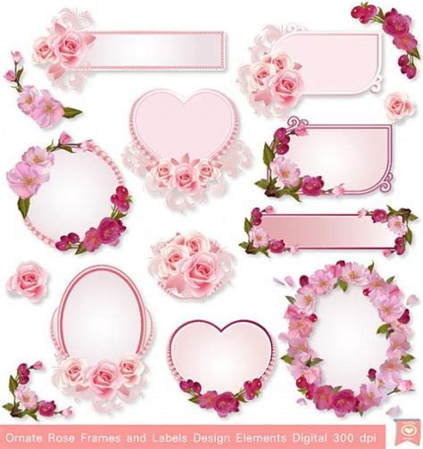 INSTANT DOWNLOAD Ornate Rose Frames Labels Party Tags