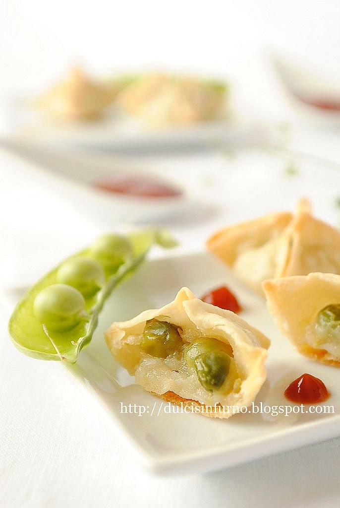Fagottini con Piselli e  Crema di Patate-Parcels with Potato Cream and Peas