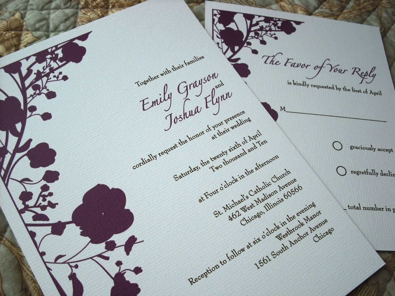 Plum Blossoms Wedding Invitation and RSVP Card Set
