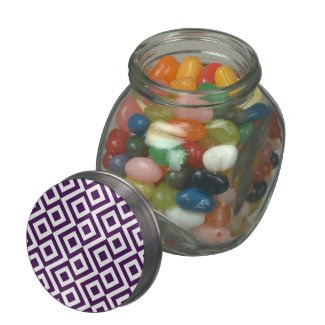 Purple and White Meander Glass Candy Jars