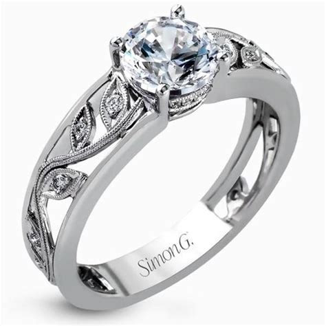 Simon G. Filligree Diamond Engagement Ring with Scrollwork